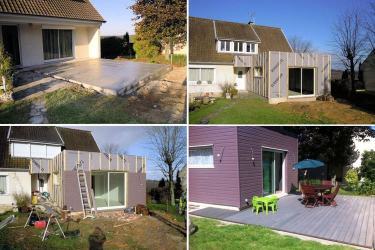 D couvrez la construction d 39 une extension en bois for Extension maison 74