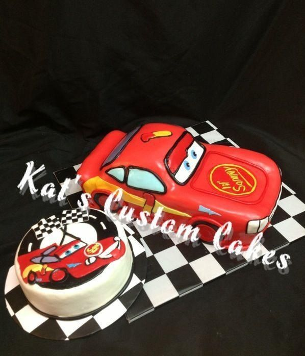 Disney Cars 3d lightning McQueen 1st birthday cake and smash cake