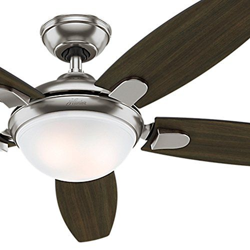 Hunter Fan 54 Contemporary Ceiling Fan In Brushed Nickel With Energy Efficient Led Light Re Ceiling Fan Contemporary Ceiling Fans Brushed Nickel Ceiling Fan Hunter ceiling fans with remote