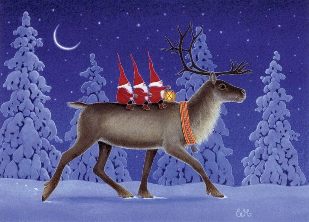Новогодние скандинавские открытки, статус