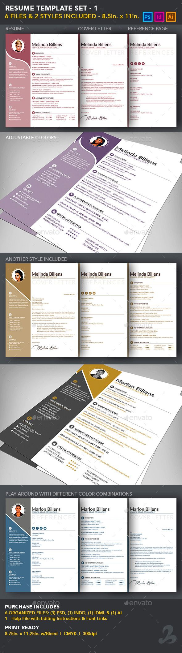 Stylish Resume Template Set | Schreiben