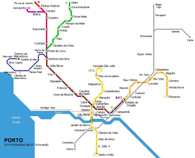 Metro De Oporto Mapa.Urbanrail Net Europe Portugal Porto Metro Ligeiro Light Rail Metro Map Porto Map
