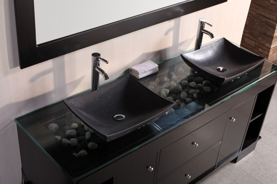Bathroom Cool Modern Bathroom Design With Black Vanity Designed With Glassed Top And Pebbles Com Black Bathroom Sink Black Vanity Bathroom Double Sink Bathroom
