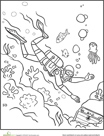 worksheets scuba diver coloring page
