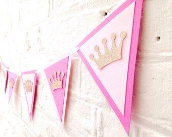 Pink and gold birthday bunting Birthday by Polkadotcorner22