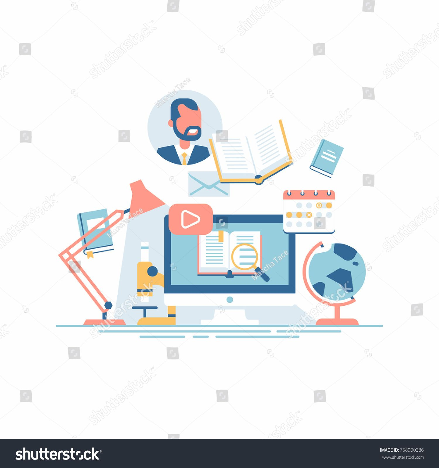 Cool Vector Concept Illustration On E Learning Online Courses Virtual Classroom And Other Educational Themed Ac With Images Virtual Classrooms Online Learning Activities
