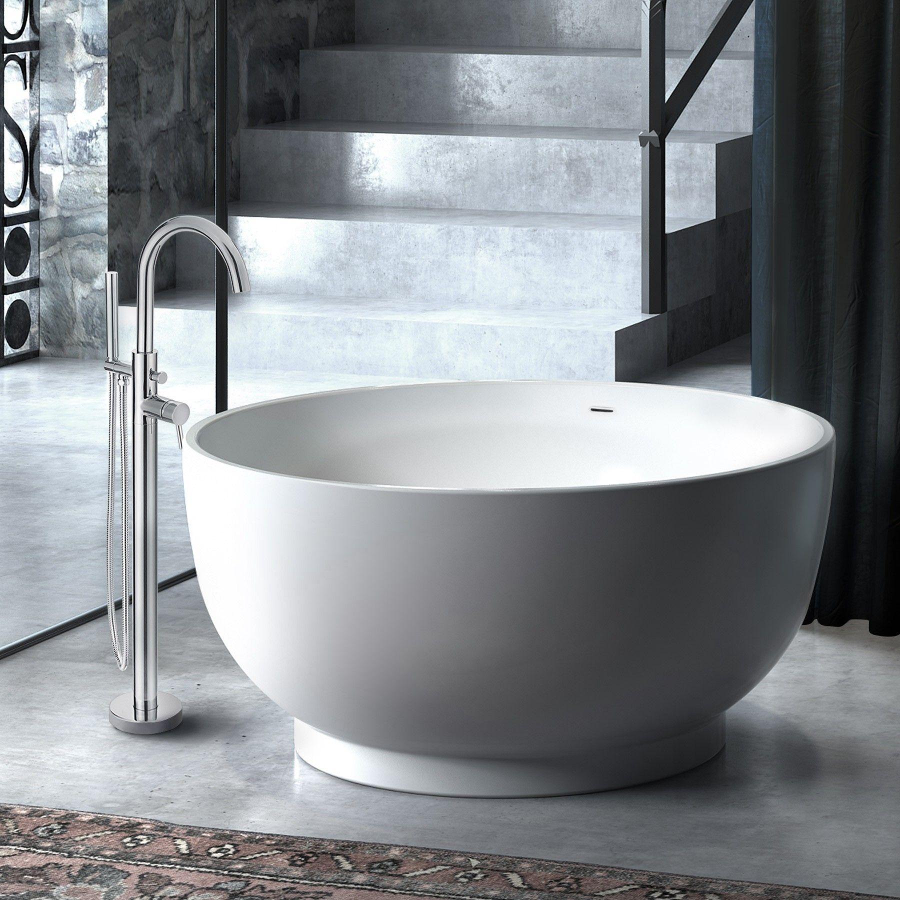 51 Omi Raised Round Acrylic Japanese Soaking Bathtub With Overflow White Japanese Soaking Tubs Freestanding Tub Faucet Soaking Bathtubs