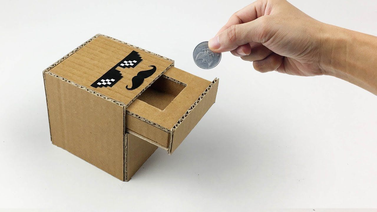 how to make coin bank box from cardboard youtube. Black Bedroom Furniture Sets. Home Design Ideas