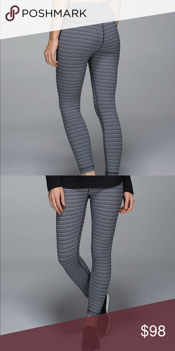 93cbe3a20619be lululemon high times stripe pants Textured stripe black deep coal colorway.  Great neutral stripe high times pants. 7/8 length. Excellent used condition.