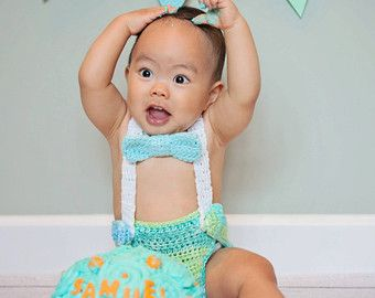 Baby Boys Cake Smash Outfit First Birthday Diaper Cover Bloomers Neck Tie Bowtie set for Toddler B-Day Photo Shoot