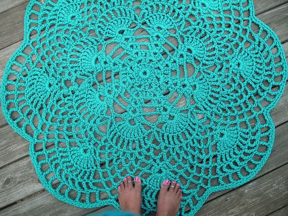 Turquoise Patio Porch Cord Crochet Rug in 45 by byCamilleDesigns, $120.00