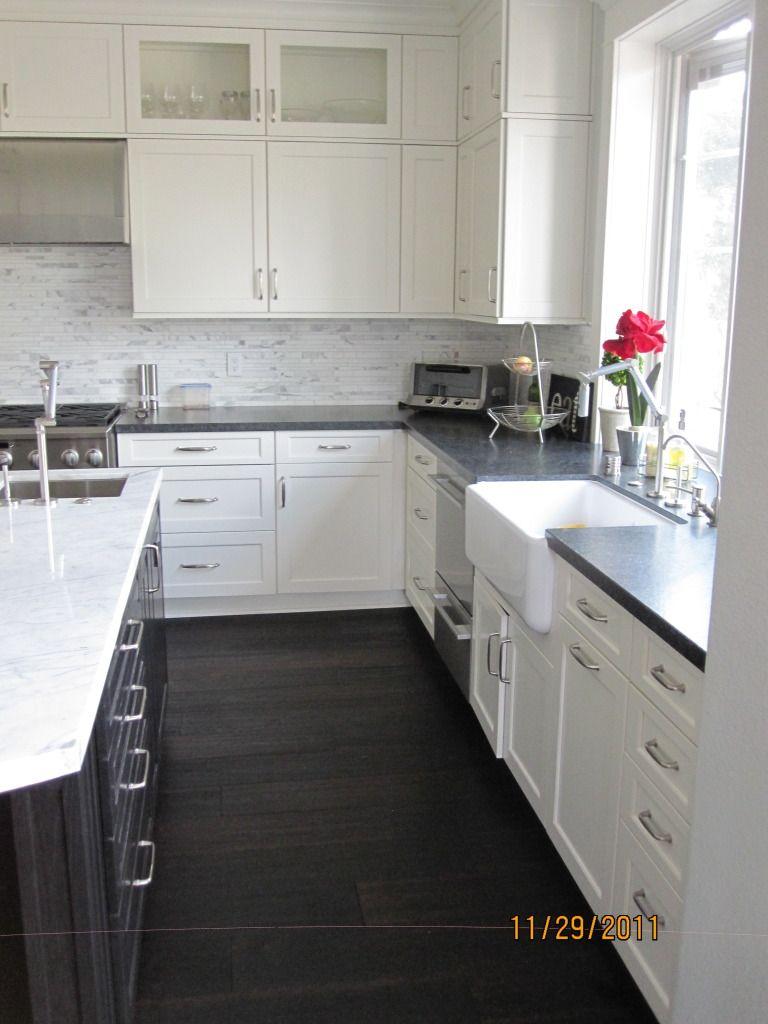 White Kitchens Dark Floors White Cabinets With Dark Granite And Wood Floors Kitchen