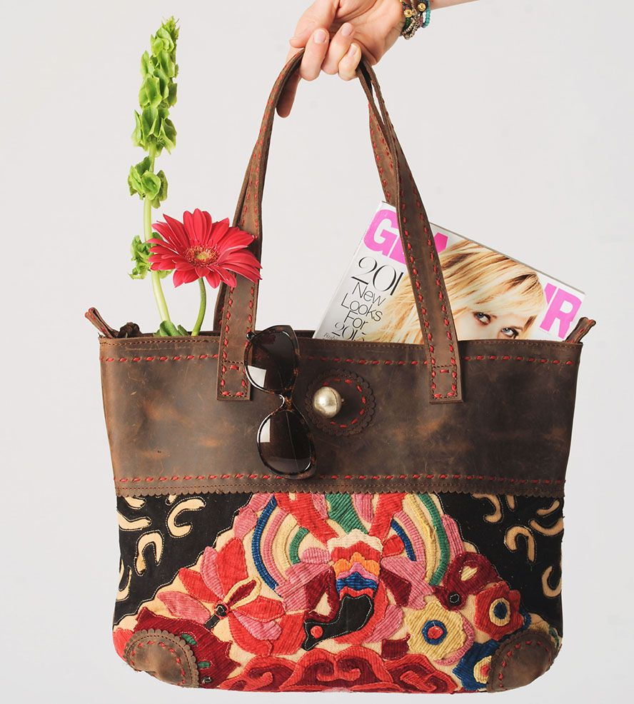 Thai fabric u leather tote bag red northern thailand artisan and