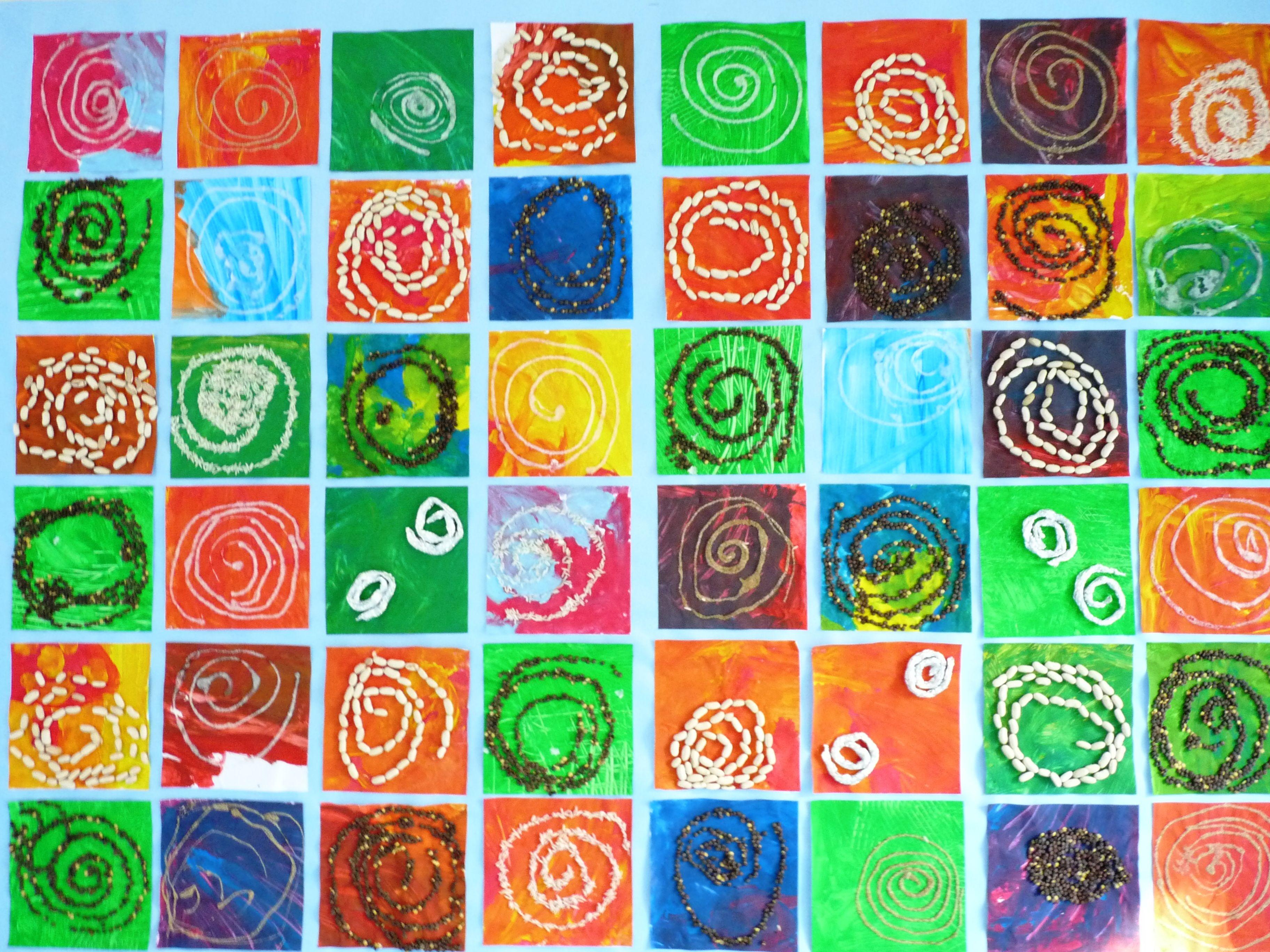 spirales : tracées à la colle, puis collage de graines diverses, sucre, sable,  aluminium...
