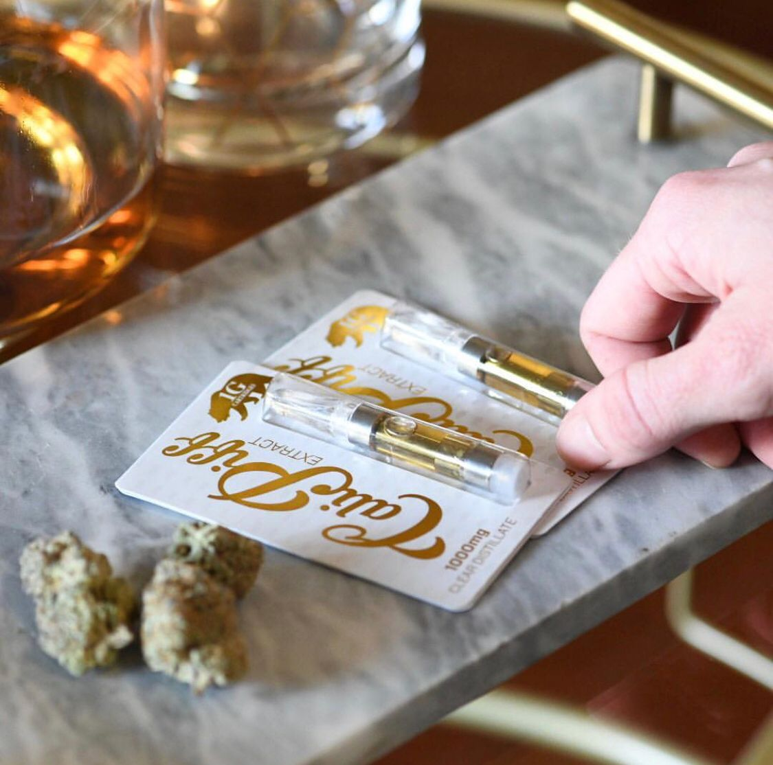 Cali Piff blister packs gold text with a holographic