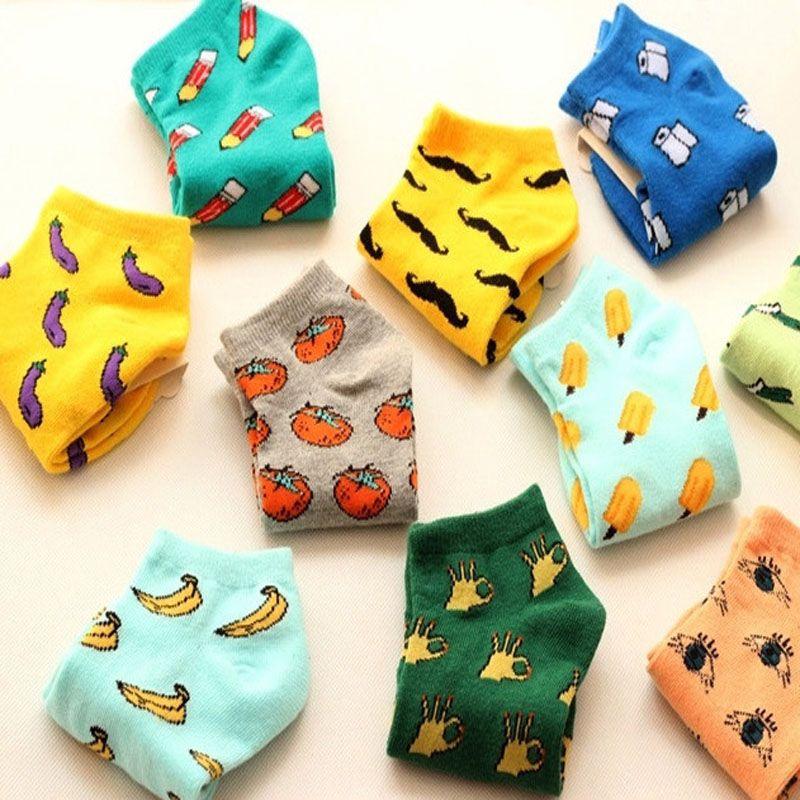 New Sveglio 11 stile colore di frutta amore di colore della caramella di estate del cotone calzino delle donne calzini calzino sottile delle donne slippers ws85 1 pair = 2 pz