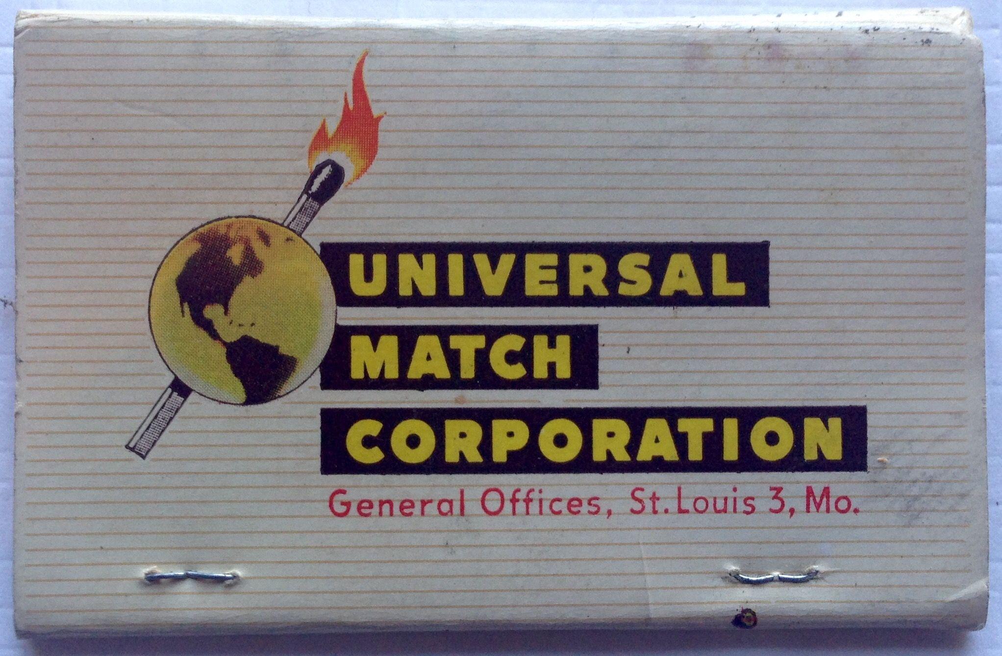 Universal Match Corporation vintage salesman\'s Business Card ...