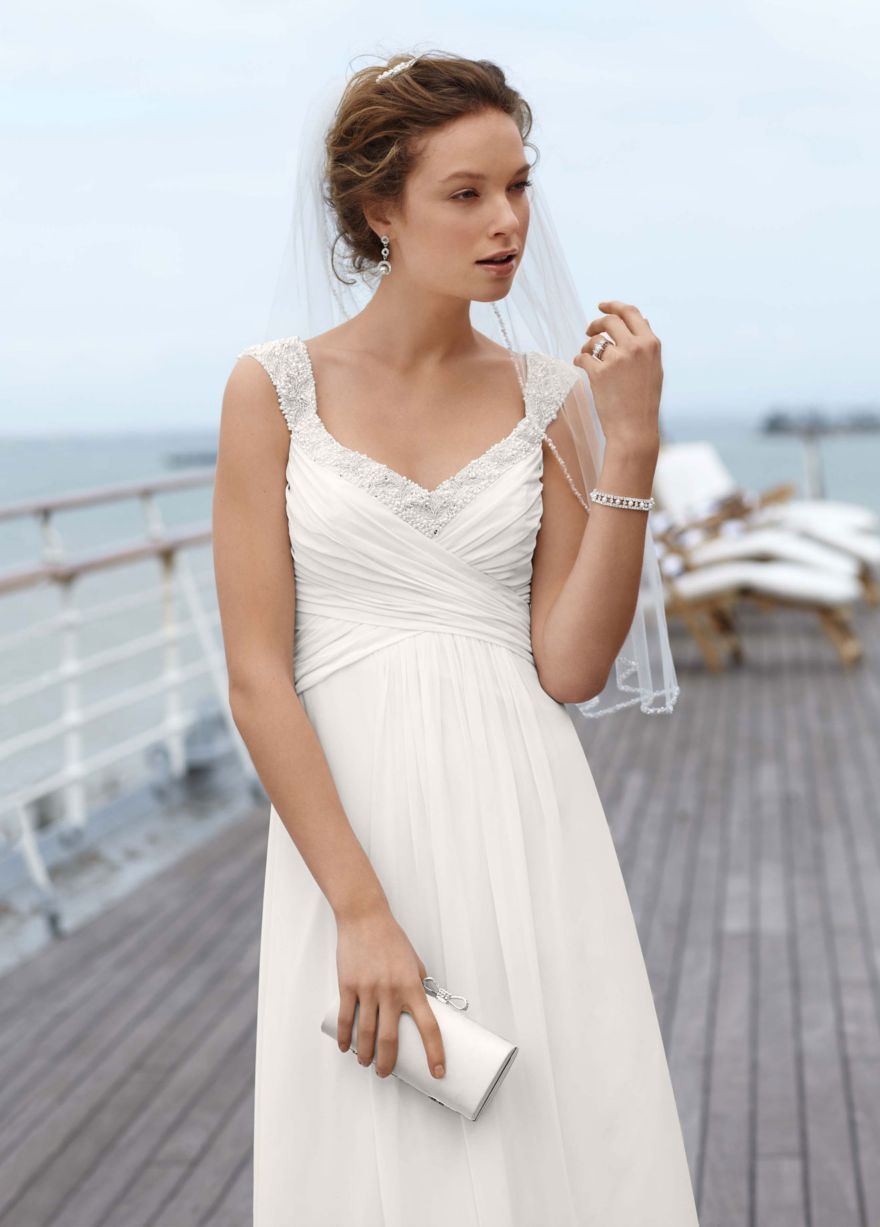wedding dress under $ Chiffon Gown with Ruched Bodice and Beaded Straps David s Bridal Style WG
