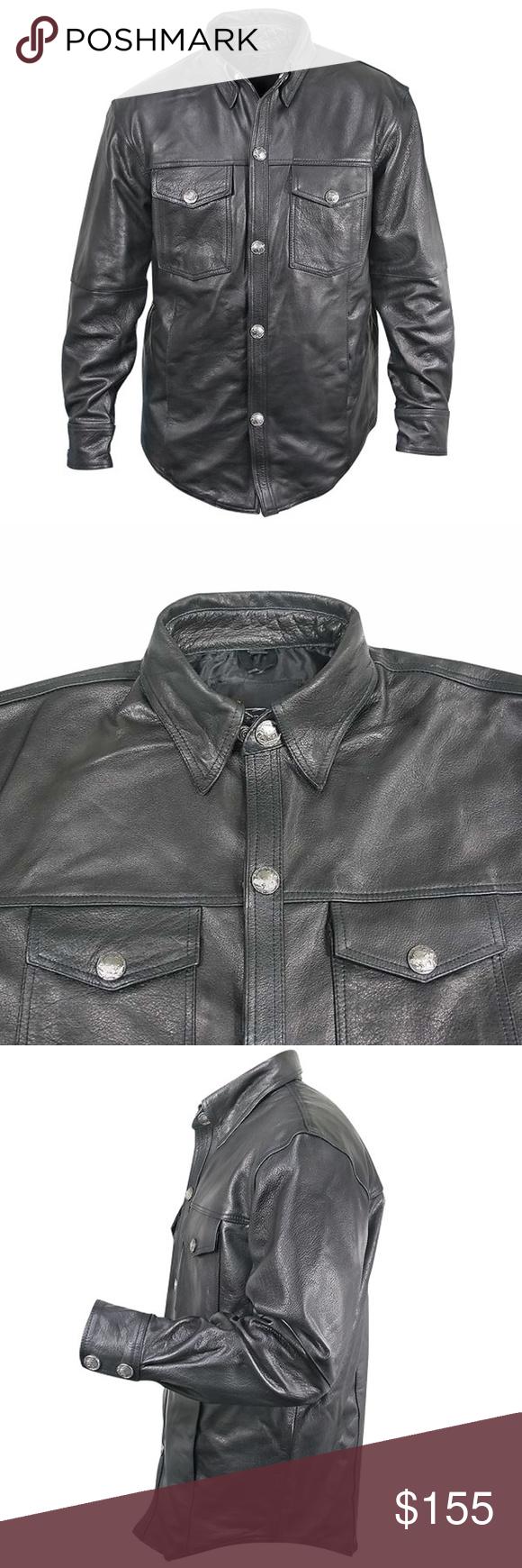 Xelement Xxl Men S Black Leather Shirt Buffalo Earthy Buffalo And