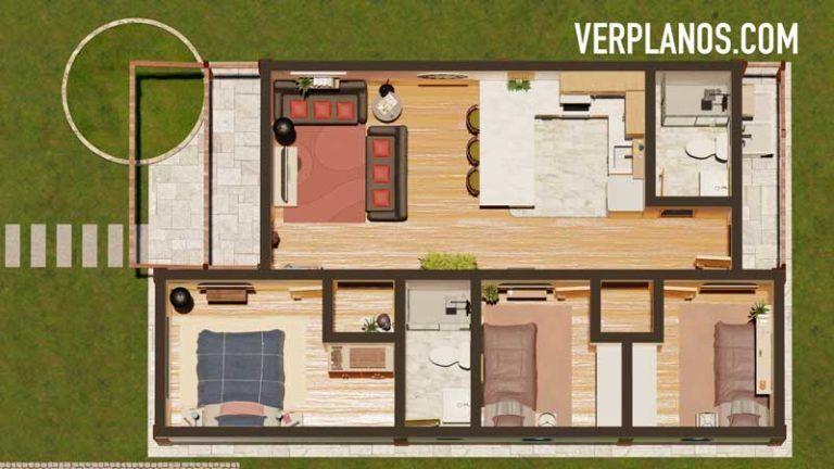 Descargar Plano de casa de 1 piso 3 dormitorios 2 baños en ...