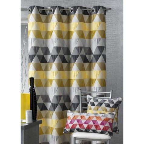 rideau jacquard triangle jaune home deco pinterest jacquard jaune et forme de triangle. Black Bedroom Furniture Sets. Home Design Ideas