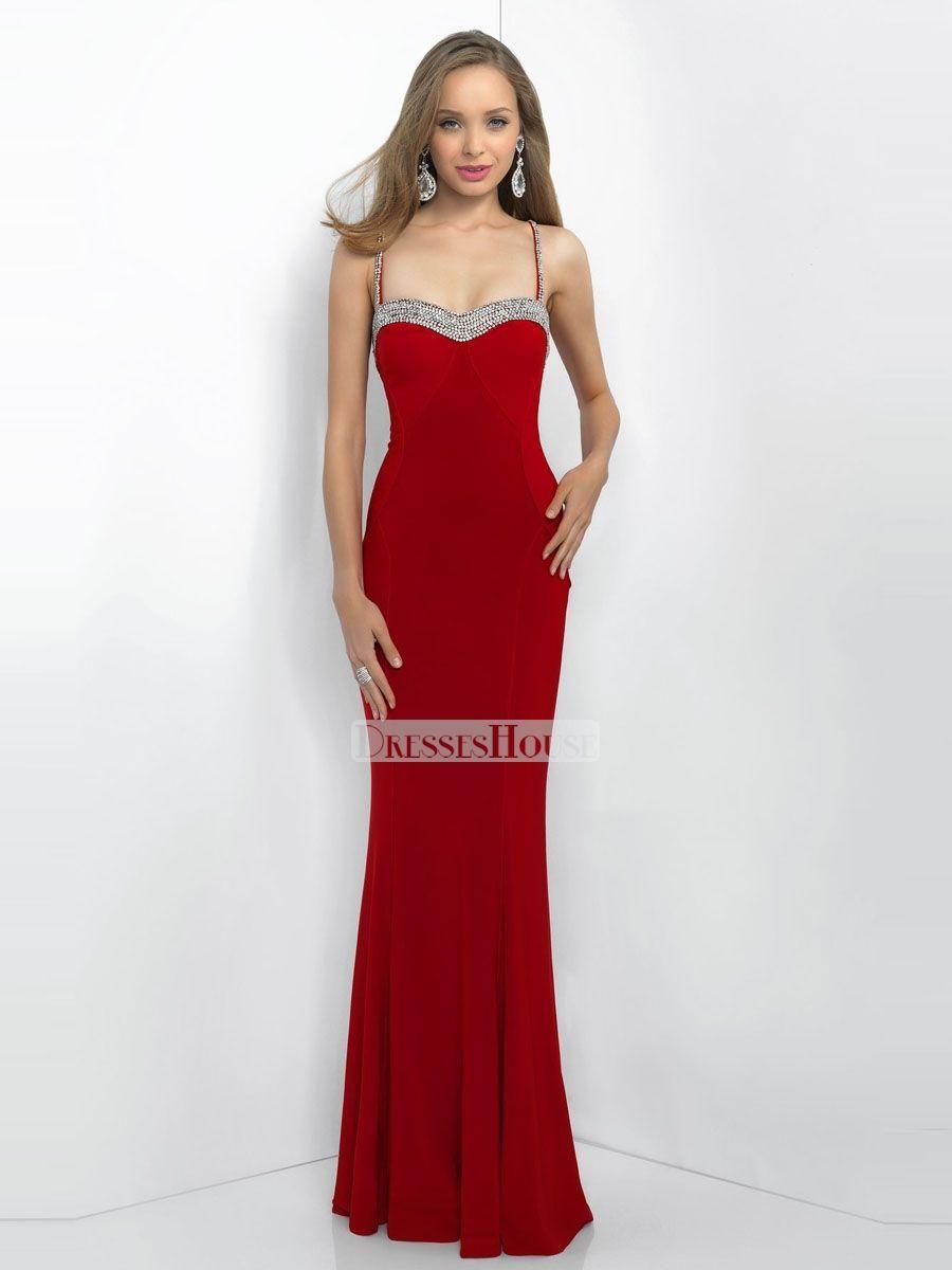 Spaghetti straps sweetheart open back sweeep train prom dress