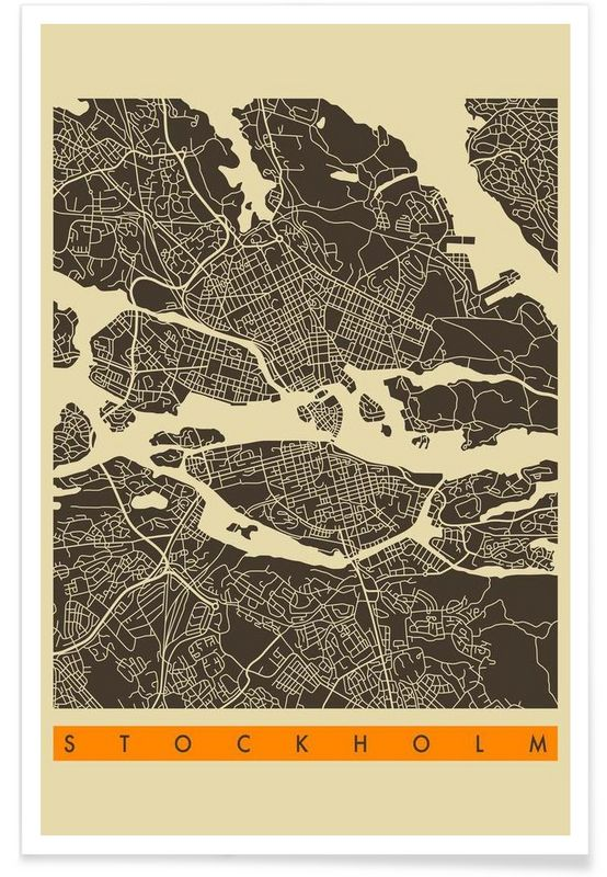 Stockholm Map Series 3 als Premium Poster von Jazzberry Blue | JUNIQE