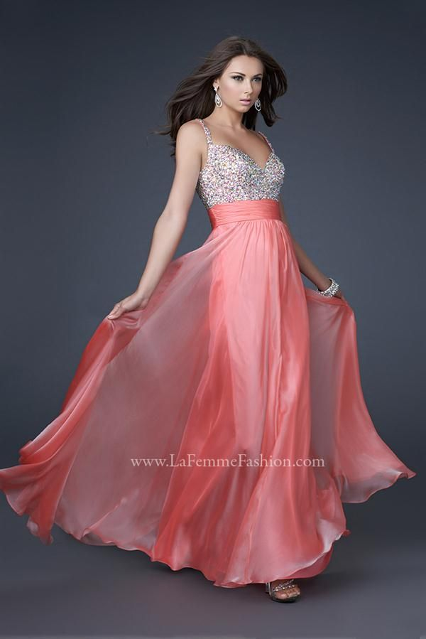16802 Long La Femme Coral Dress | Pinterest | Colección de vestidos ...