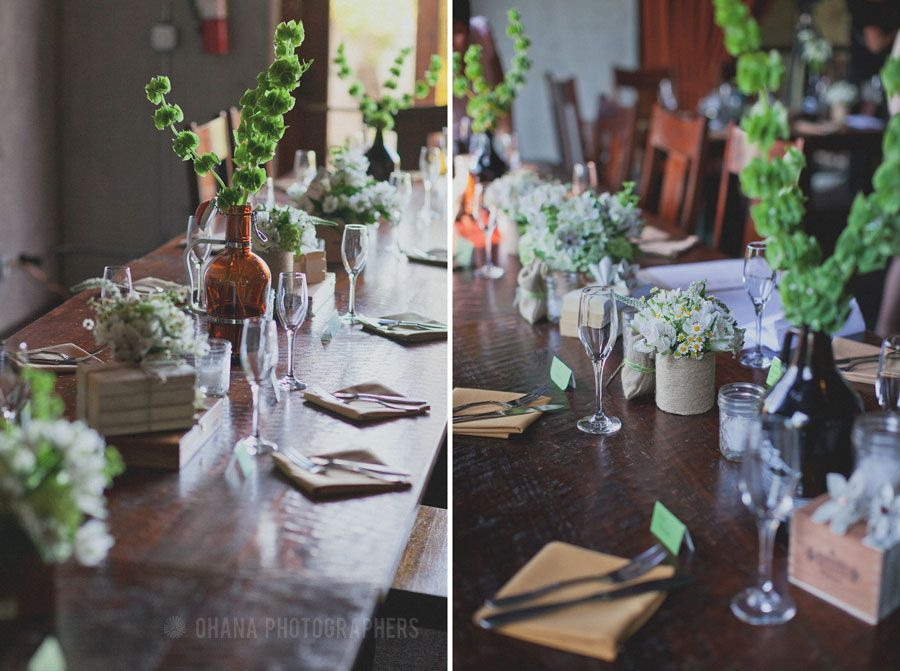 Beer Growler Centerpieces With Wildflowers At Stone Brewery Wedding In San Diego By Ohana Photographers