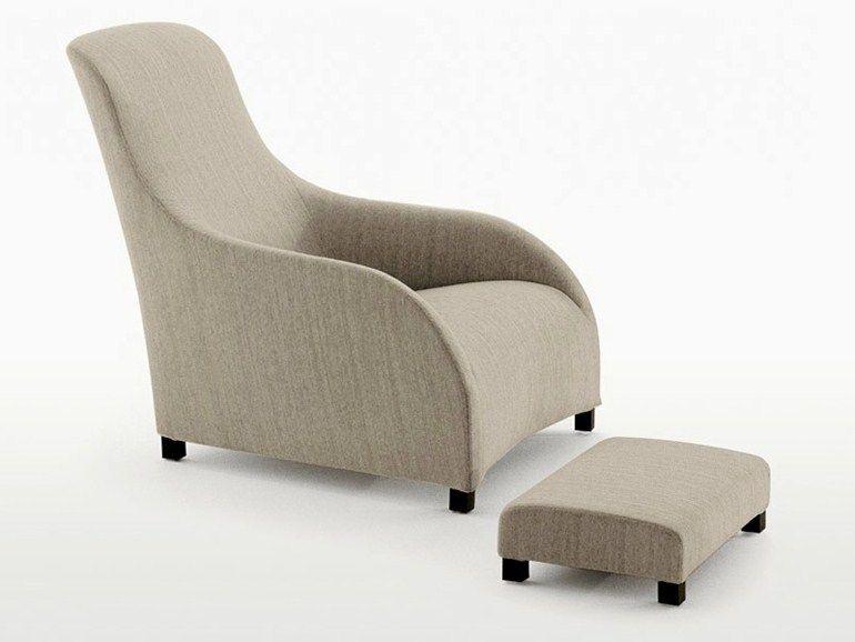 Bergere High Back Fabric Armchair With Footstool Kalos By Maxalto A Brand Of B B Italia Spa Design Antonio Citterio Mobili Poltrone Pouf