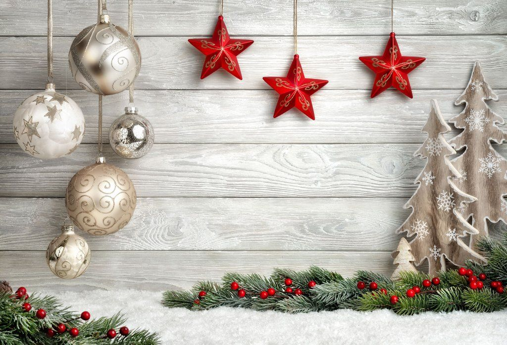 Country Christmas Background.Happy Christmas Wood Floor Snowflake Decorations Hu0223