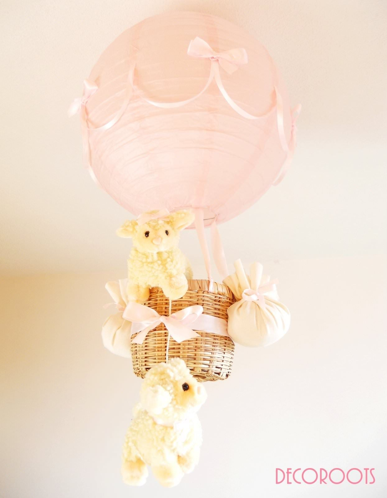 Lampe Montgolfiere Mouton Fille Rose Mignon Baby Nursery Baby Room