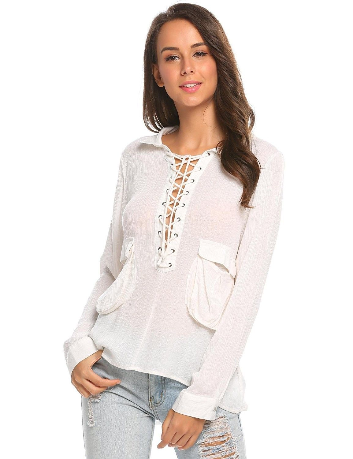 0fb78ae6 Women's Clothing, Tops & Tees, Blouses & Button-Down Shirts, Womens Sexy  Deep V Neck Lace Up Front Long Sleeve Casual Loose T-Shirt Blouse - White  ...