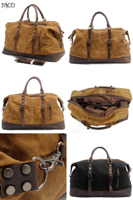Vintage Men/'s Leather Military Canvas Travel Luggage Shoulder Handbag Duffle Bag