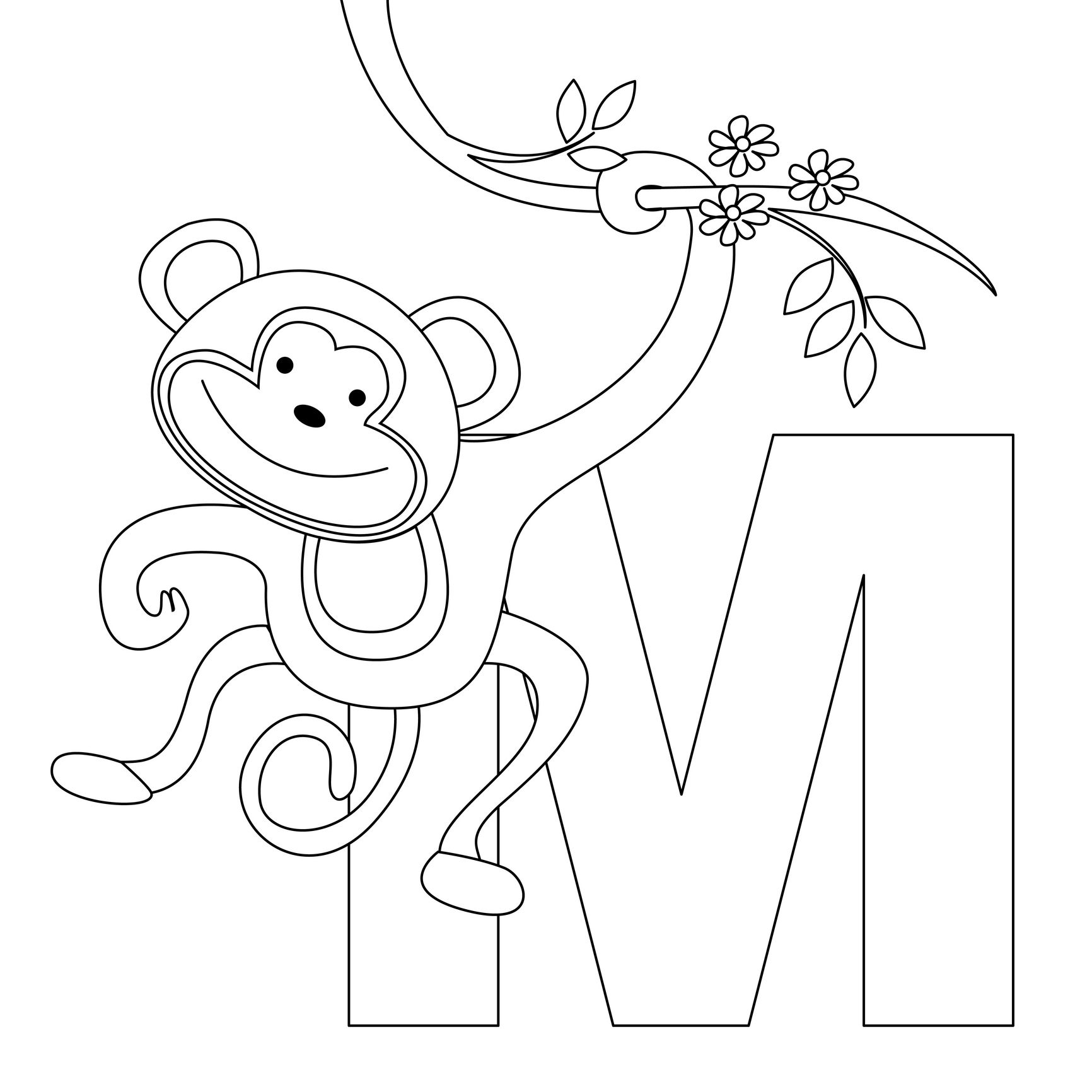 Animal Alphabet Coloring Pages Printable : Animal alphabet letter m for monkey here s a simple