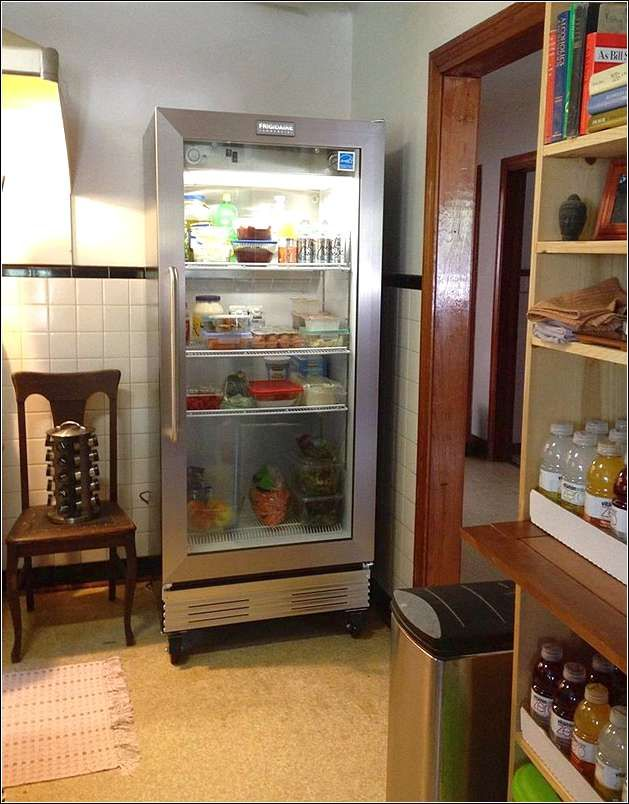 Sketch of glass front refrigerator for home showcasing - Glass door fridge for home ...