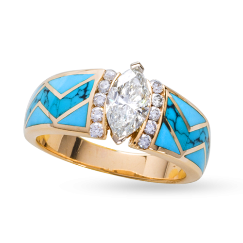 Turquoise River of Love Dulce Ring with Marquise Diamond