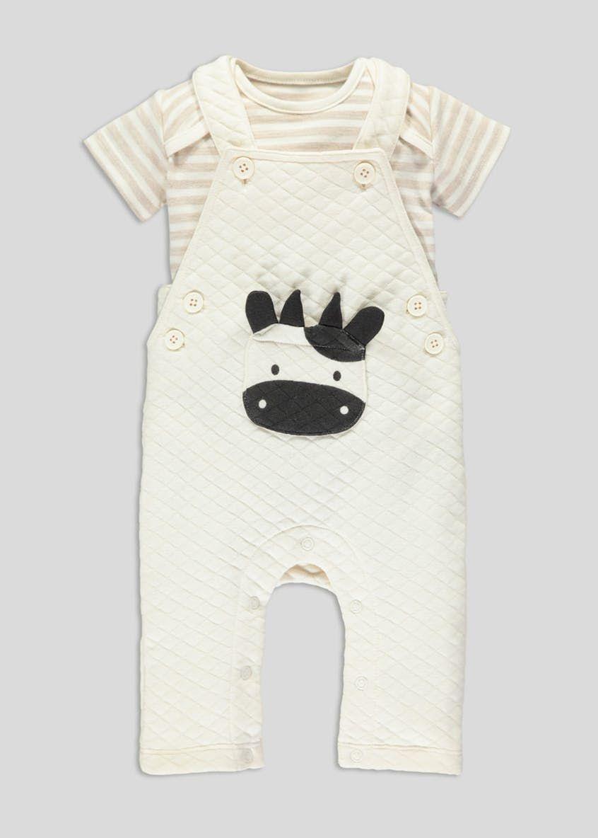 7beaef17e92d Unisex Cow Applique Dungarees   T-Shirt Set (Tiny Baby-18mths ...