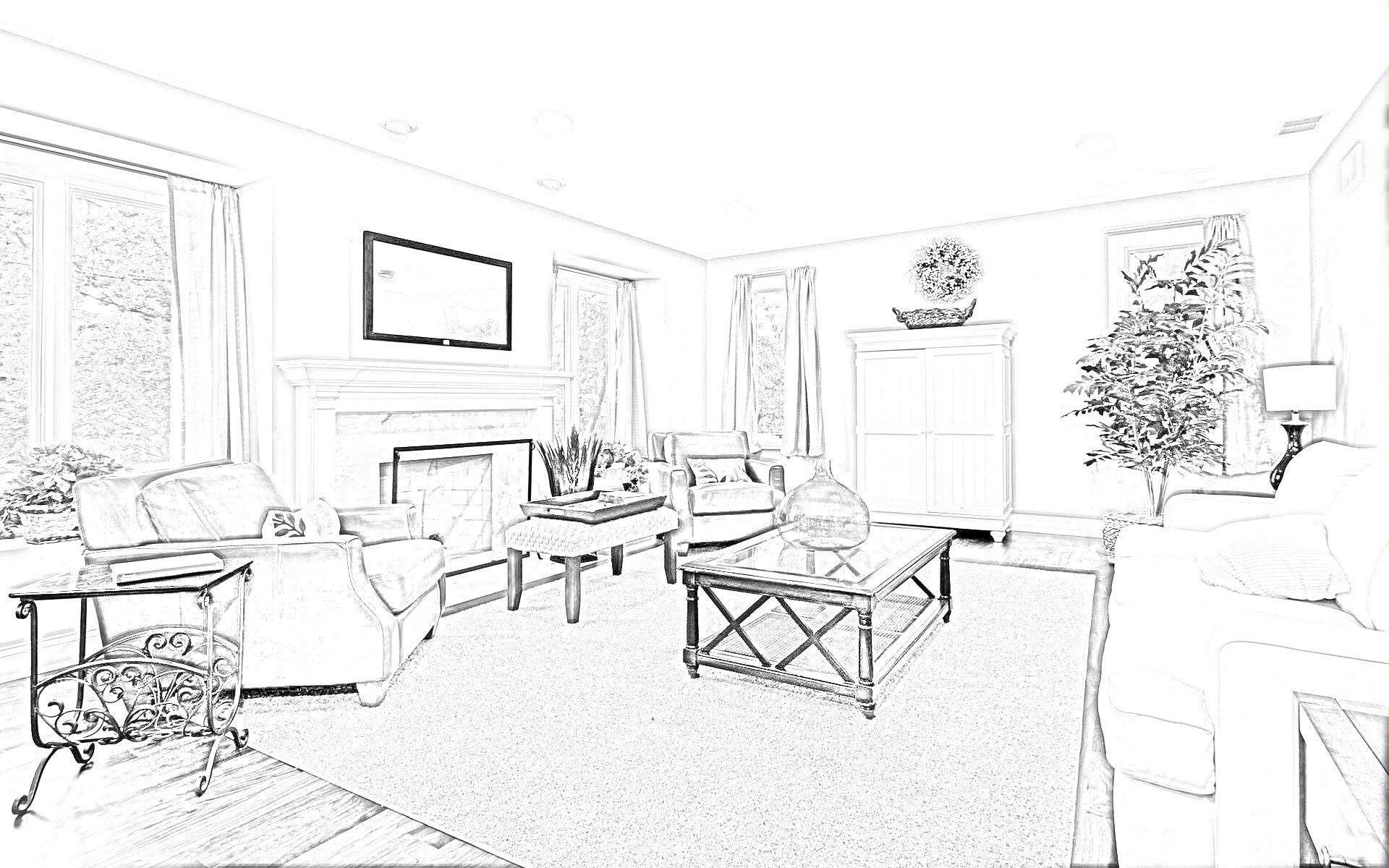 Home Interior Decoration Sketches