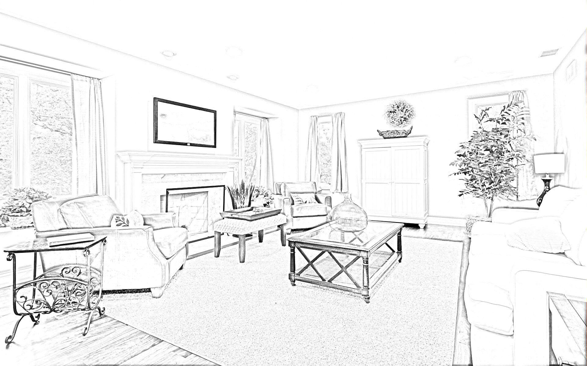 Home Interior Decoration Sketches
