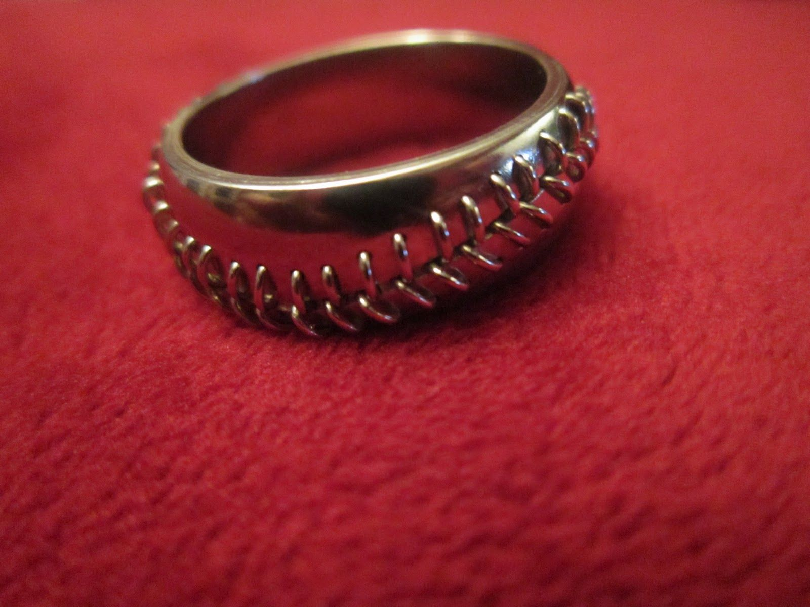 baseball wedding ring stitched baseball ring sterling silver or gold 1509