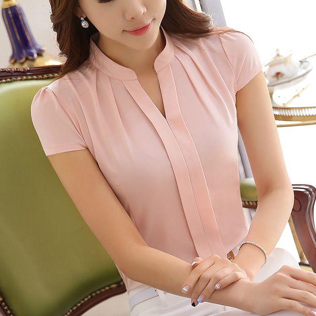 Elegantes blusas de Chiffon Fino Moda manga curta camisas Ocasionais das  mulheres Nova 2016 Verão Mulheres blusas plus size mulheres tops 994f6c5c4c981