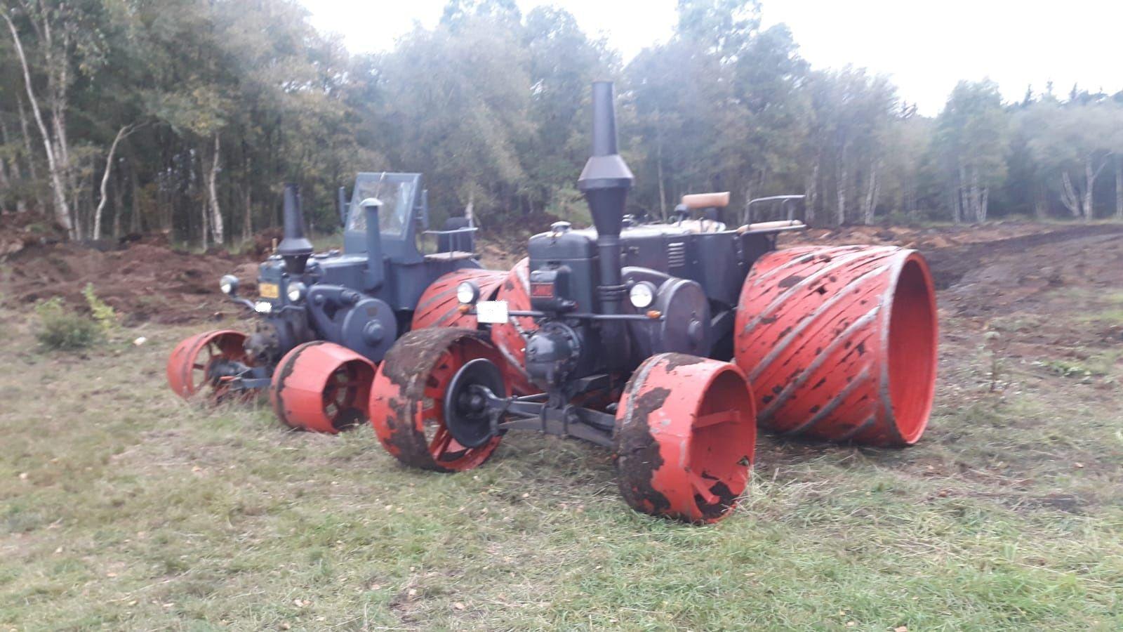 Historische Bau und Landmaschinen im Einsatz, tolle