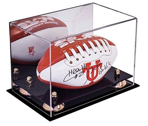eac12d81235 Deluxe Acrylic Mini - Miniature (not full size) Football Display Case with Gold  Risers and Mirror (A005-GR)