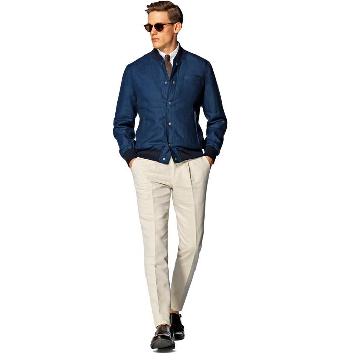 Men's Smart Bomber Jacket Over Shirt and Tie Combination Lookbook ...