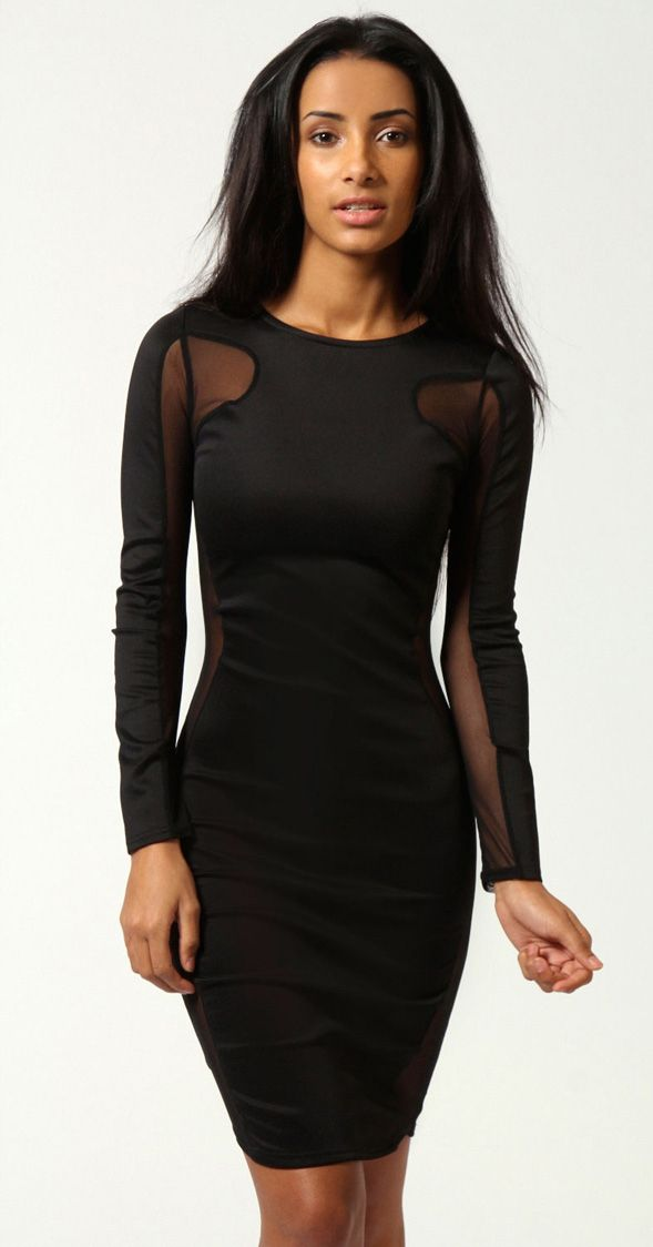 Ivy Long Sleeve Bodycon Dress with Mesh Inserts in Black ...