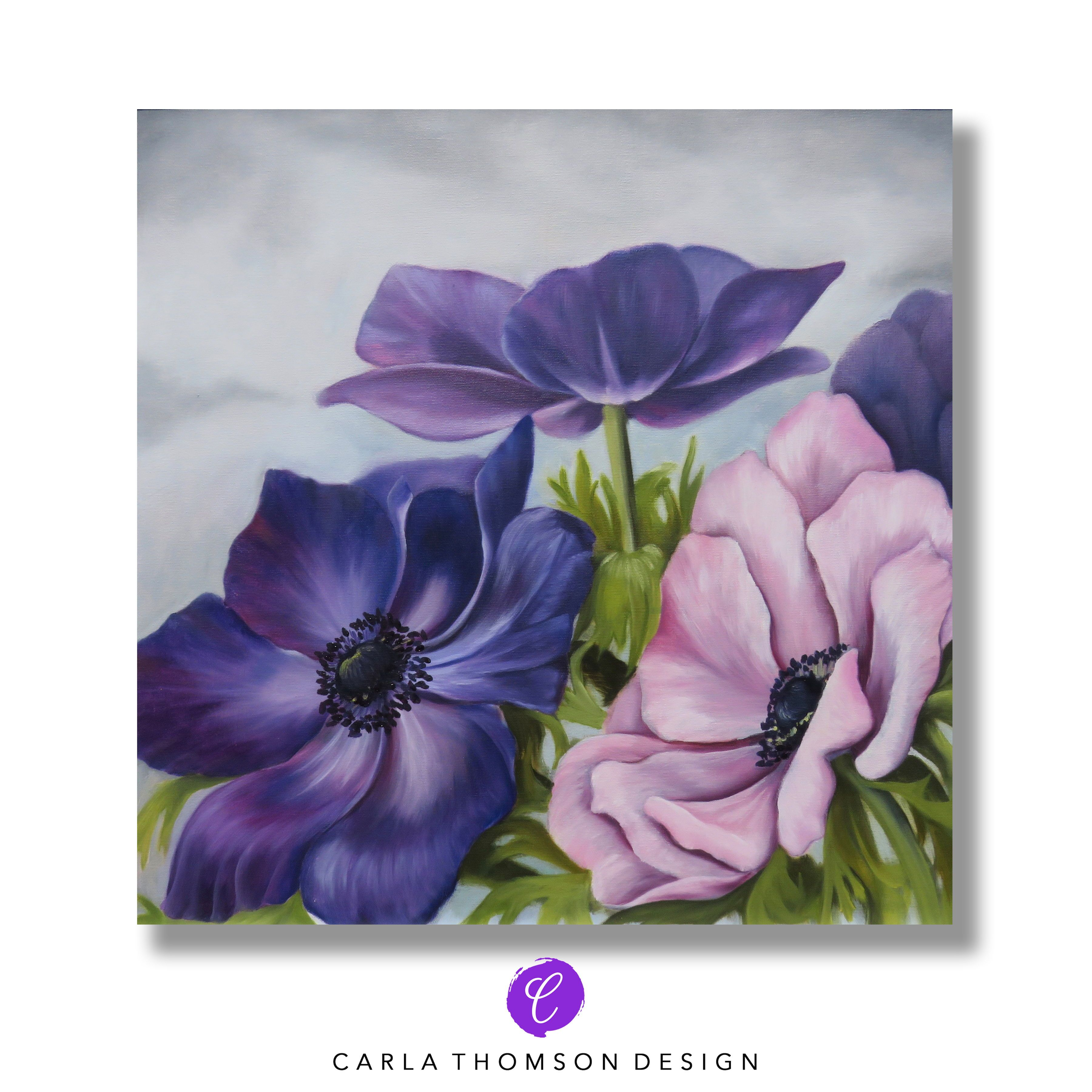 Purple Pink Flowers On Gray Oil Painting Original Canvas Art Framed Wall Art Anemone Flowers Windflowers Original Canvas Art Painting Girl Drawing Sketches