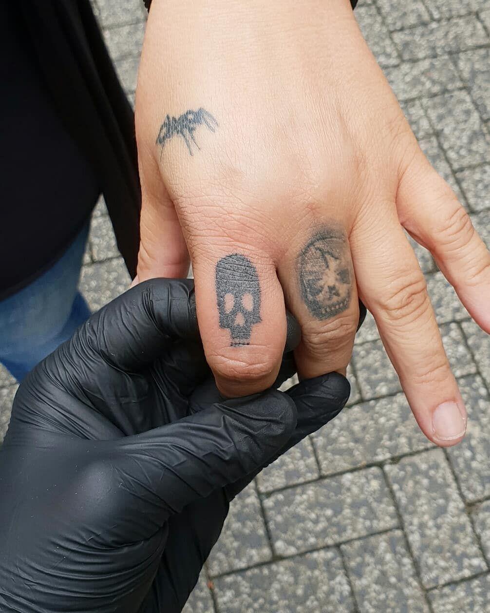 Small skull I Hand Poked to start the day. ) tattoo