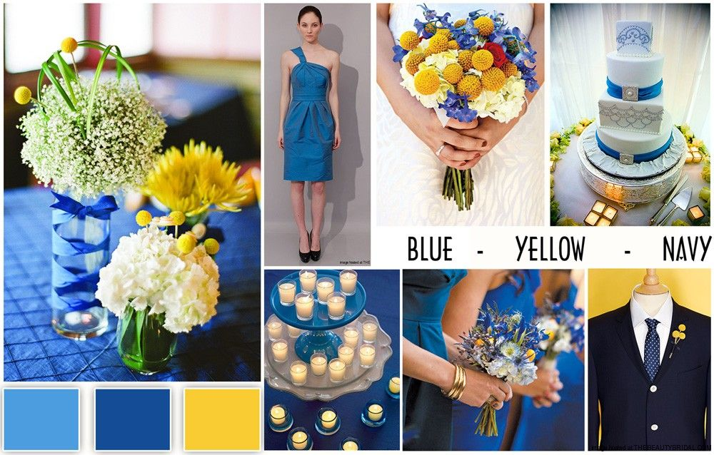 Wedding Color Combinations Schemes Blue Yellow Navy Dress Bridal