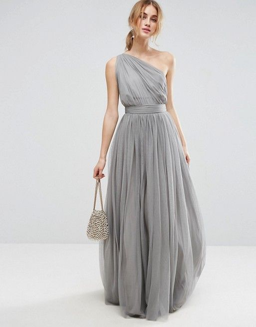 6c8744278b2 PREMIUM Tulle One Shoulder Maxi Dress